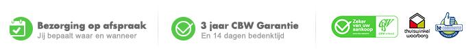 Wij zijn CBW erkend, dus 3 jaar garantie op al je aankopen